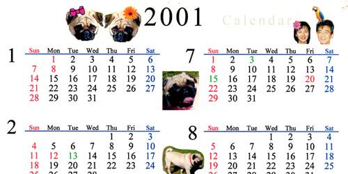 2001年 涼々家カレンダー
